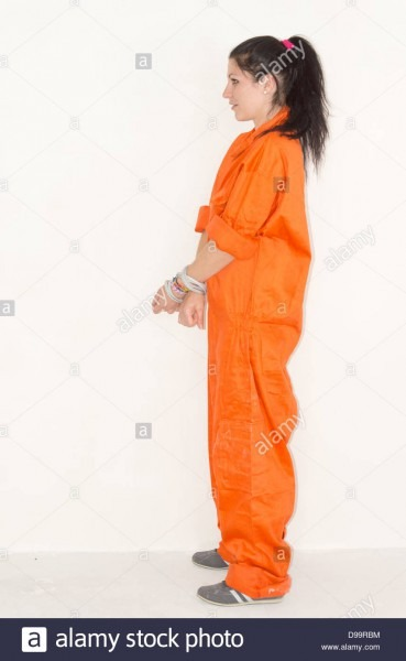 Convict Woman In Handcuffs And Orange Jumpsuit With A Look Of