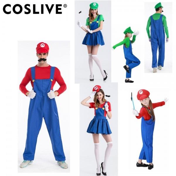 Coslive Super Mario Bros Cosplay Costume Halloween Mario Luigi