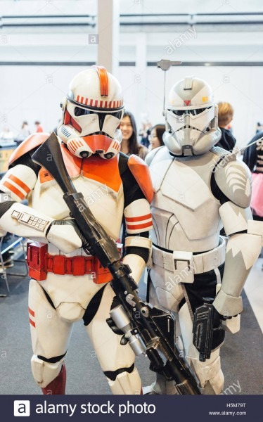 Cosplayers Wear A Imperial Shock Trooper (l) And A Clone Trooper
