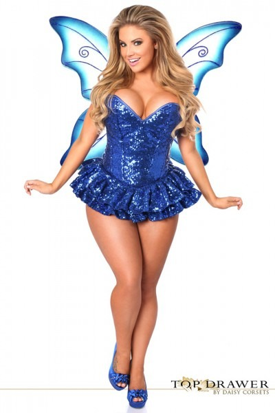 Top Drawer Premium Sequin Blue Fairy Corset Dress Costume