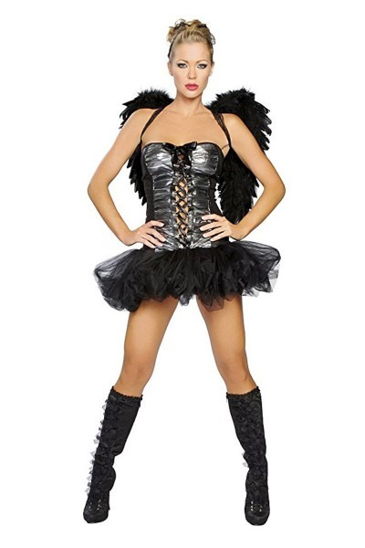 Sexy Black Grey Dark Angel 1 Pc  Costume