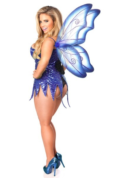 Sexy Top Drawer Blue Sequin Fairy Corset Dress Costume