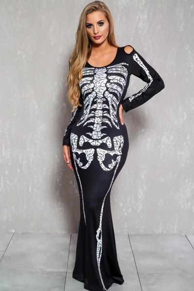 Sexy Black White Skeleton Dress Costume