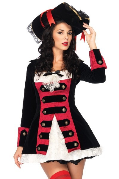 Sexy Black Red Vixen Pirate Wench Costume