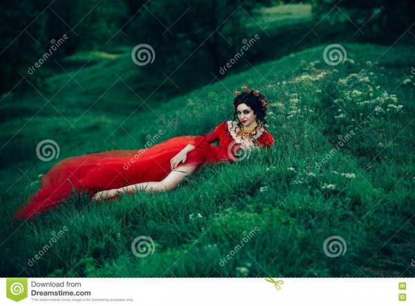 Countess In A Long Red Dress Stock Image