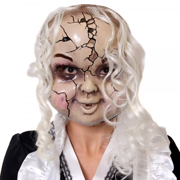Cracked Doll Mask Halloween Creepy Accessory Broken China Baby