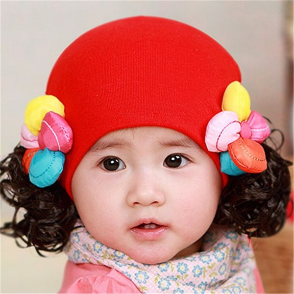 Cute Baby Girl Wig Hat For Kids Winter Baby Caps Toddler Beanie