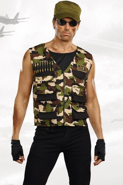 Hot Soldier Halloween Costume, Men's Camouflage Army Vest