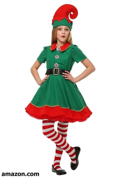 Fun Costumes Girls Holiday Green And Red Elf Costume