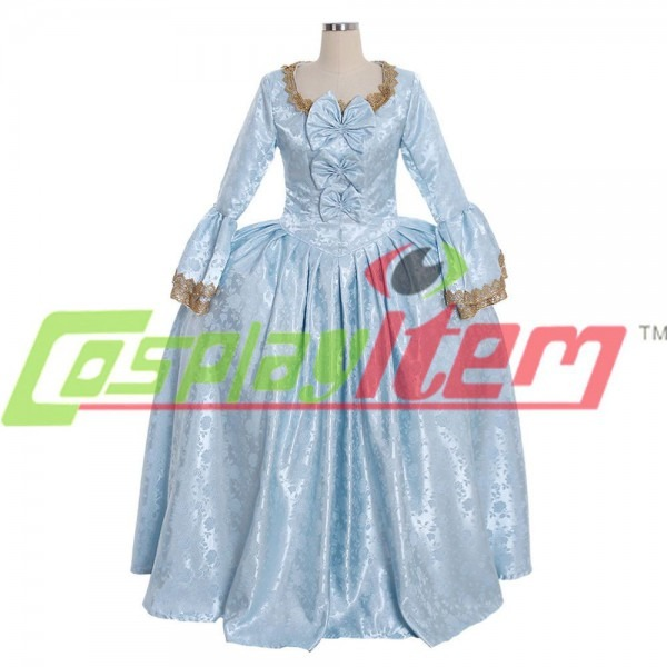 18th Century Marie Antoinette Colonial Gown Blue Dress Costume