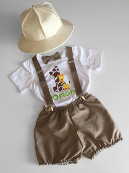 Safari Explorer Theme Cake Smash Outfit Boyspersonalised Safari