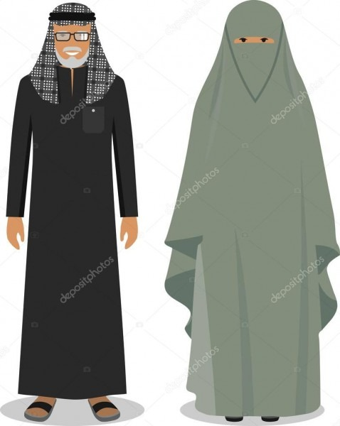 Family And Social Concept  Muslim Arab Old Man And Woman Standing