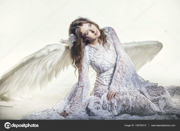Woman Angel With White Wings Costume In A Religious — Stock Photo