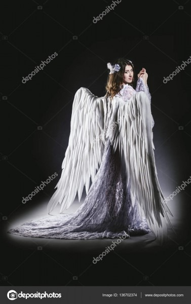 Woman Angel With White Wings Costume In A Religious Sense — Stock