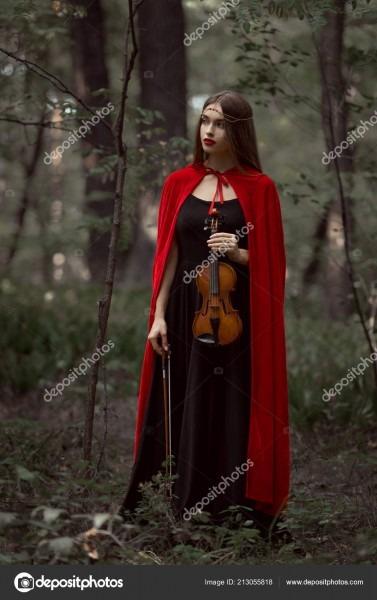 Elegant Beautiful Woman Black Dress Red Cloak Holding Violin