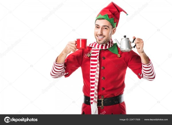 Happy Man Christmas Elf Costume Holding Red Cup Metal Kettle
