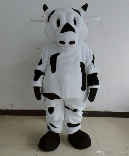 Discount Factory Sale A White Dairy Cow Mascot Costume With Short