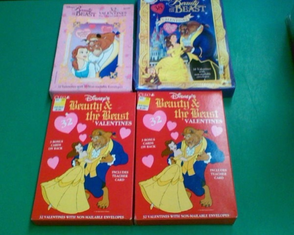 Disney Beauty And The Beast Valentines (4) Boxes Valentine Cards