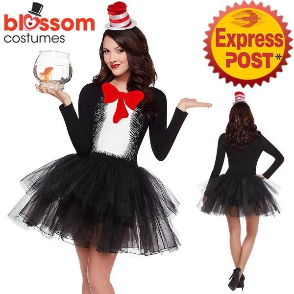 K550 Ladies Dr Seuss Cat In The Hat Dress Party Book Week Fancy