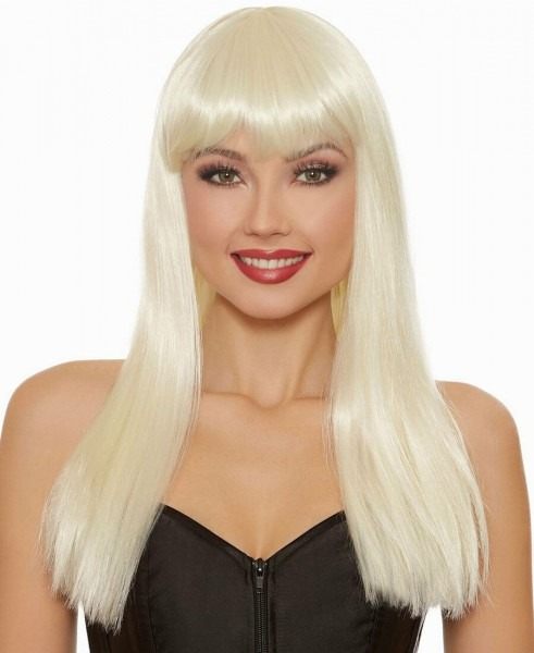 Dreamgirl Long Straight Platinum Blonde Costume Wig Women's Bangs