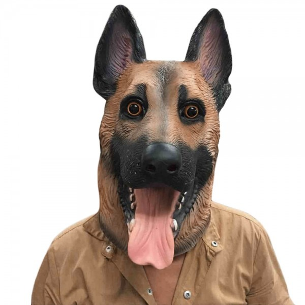 Dropwow Dog Head Latex Mask Full Face Adult Mask Breathable