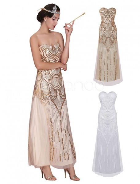 Great Gatsby Flapper Dress 1920s Vintage Costume Women's Sequined