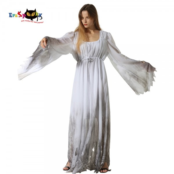 Eraspooky Plus Size Scary White Ghost Dress Halloween Costume For