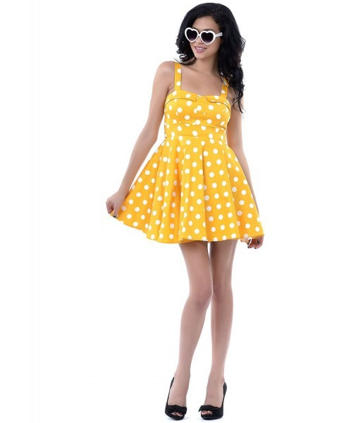 Cute 50s Style Pin Up Polka Dots Halter Rockabilly Yellow Dresses