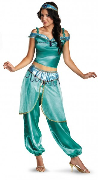 Womens Deluxe Aladdin Disney Princess Jasmine Costume