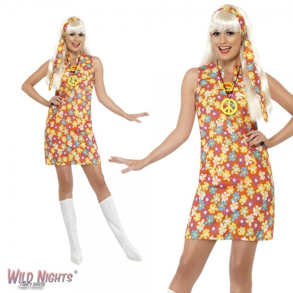 Fancy Dress Costume Ladies 1960s 70s Flower Hippy Retro Child