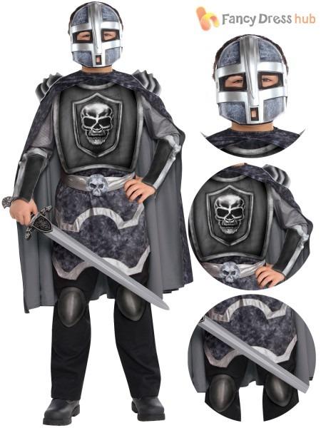 Boys Skeleton Knight Costume Halloween Fancy Dress Medieval Knight