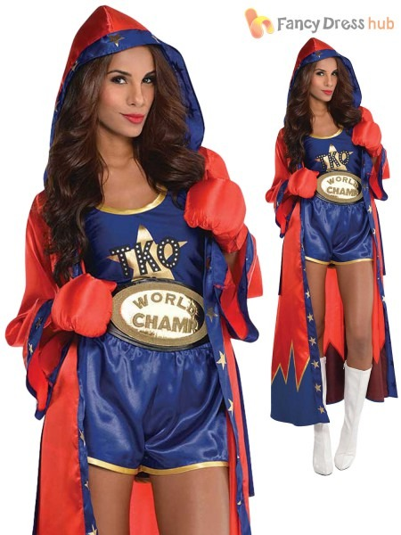 Ladies Sexy Boxer Costume Adults Knockout Fancy Dress Womens Rocky