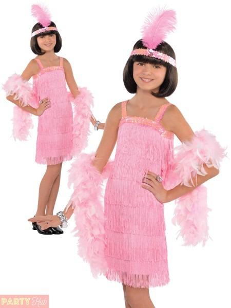 Girls Pink Charleston Flapper Costume Child 1920s Gatsby Fancy