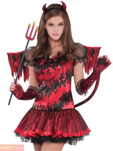 Girls Teen Hot Stuff Devil Costume Childs Halloween Fancy Dress