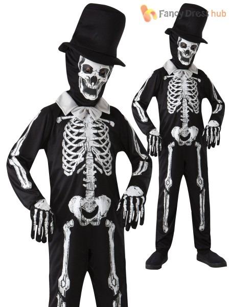 Boys Skeleton Suit Bond Day Of The Dead Groom Costume Halloween