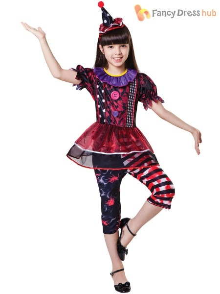 Childrens Creepy Clown Costume Girls Circus Halloween Fancy Dress