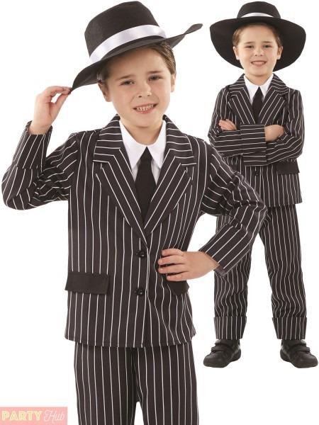 Boys Little Gangster Costume Childs 1920s Fancy Dress Al Capone
