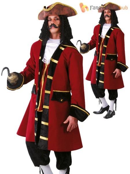Mens Pirate Captain Costume Adults Caribbean Buccaneer Fancy Dress