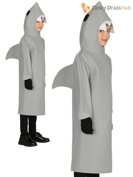 Childs Shark Costume Girls Boys Jaws Fancy Dress Kids Animal Book