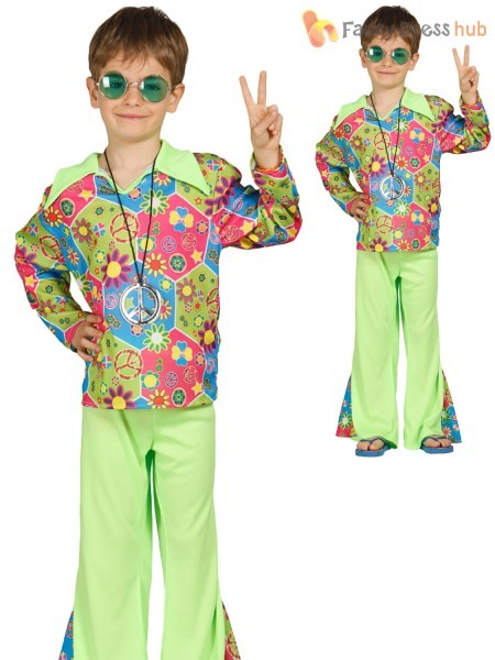 Child Hippy Costume Boys Girls Hippie Fancy Dress Kids 60s 70s