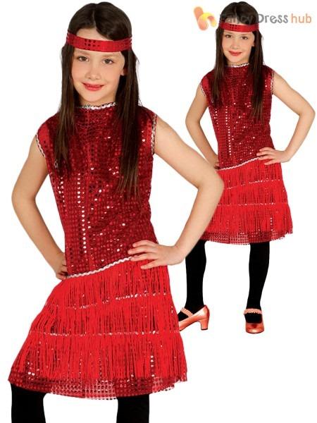 Girls Charleston Flapper Costume Childs 1920s Fancy Dress Kids 20s