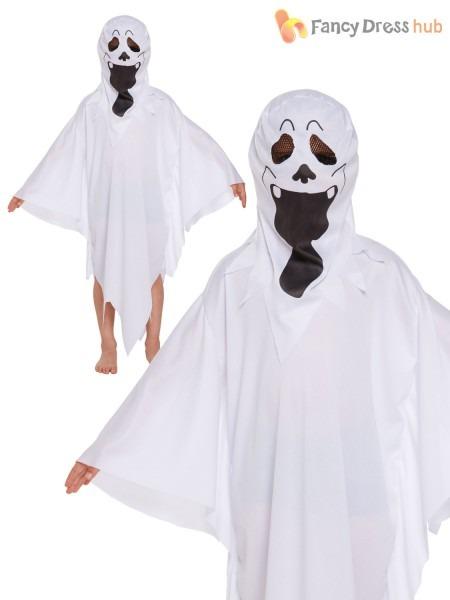 Childrens Ghost Costume Boy Girl Ghastly Ghoul Halloween Fancy
