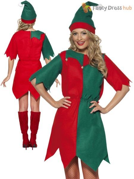 Ladies Elf Costume Adults Elves Christmas Fancy Dress Womens Santa