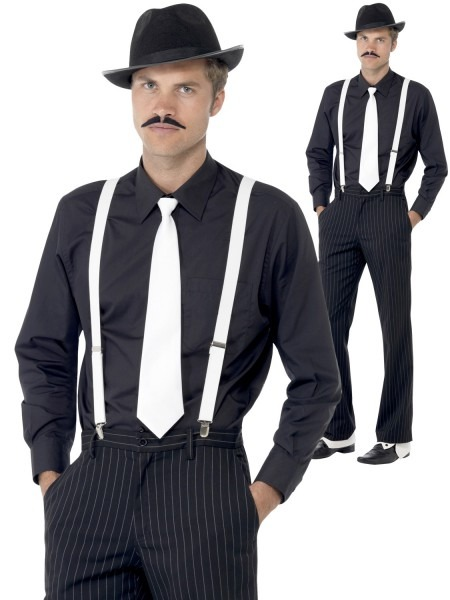 Adults 1920s Gangster Costume Kit Mens Ladies Hat Tie Braces +