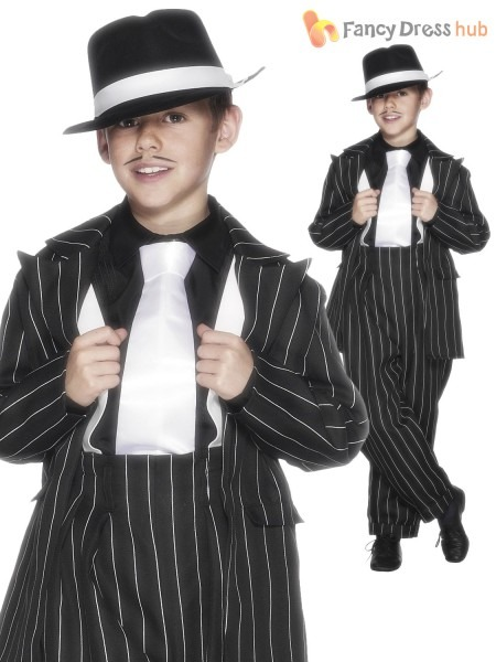 Kids Gangster Zoot Pinstriped Suit 1920s 30s Boys Childrens Fancy