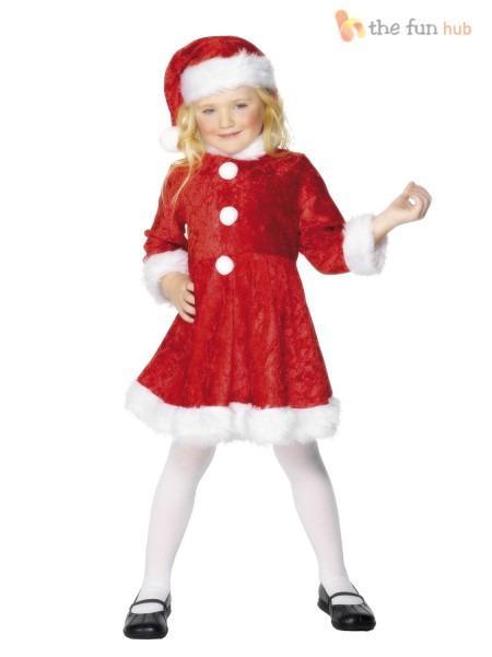 Girls Plush Miss Santa Dress Christmas Fancy Dress Costume Kids