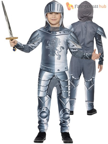 Boys Medieval Knight Costume Childs Suit Of Armour Fancy Dress