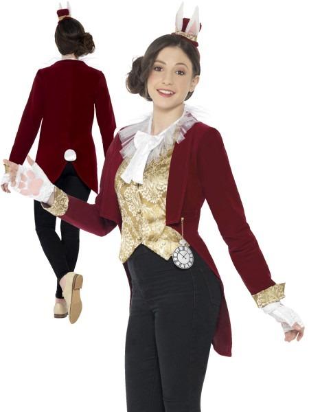 Girls Teen White Rabbit Costume Childs Alice Fairytale Fancy Dress