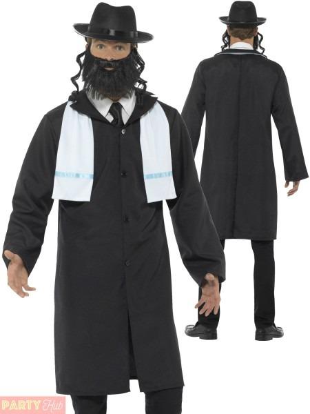 Mens Rabbi Orthodox Jew Costume Religious Fancy Dress Funny Stag