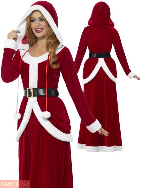 Ladies Deluxe Miss Claus Mrs Santa Long Fancy Dress Costume